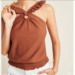 NWT Marisol Ruffled Halter Blouse Top XL Brown NEW